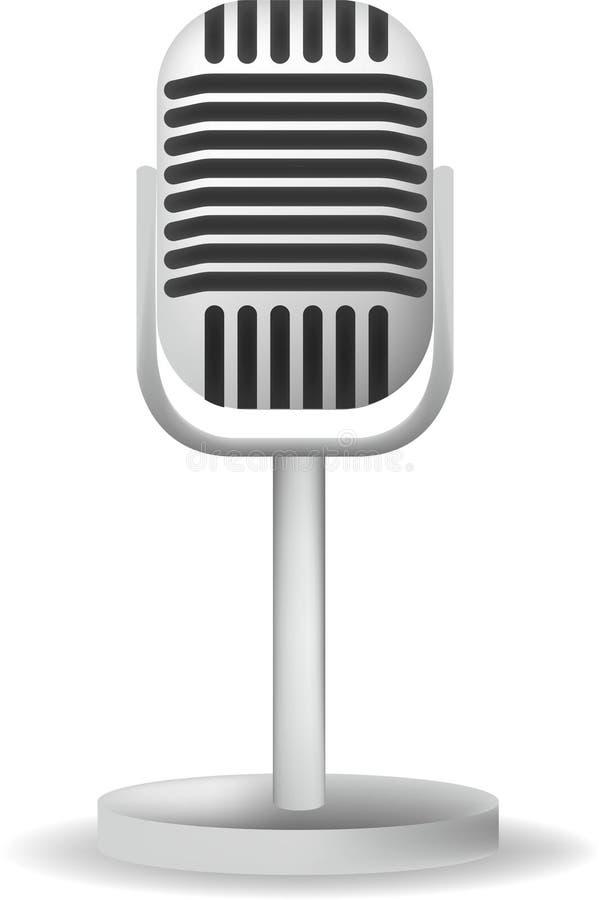 Το ρεαλιστικό ενιαίο ασημένιο αναδρομικό σχέδιο μικροφώνων με το Μαύρο ανάβει την άσπρη γκρίζα απομονωμένη υπόβαθρο διανυσματική  απεικόνιση αποθεμάτων