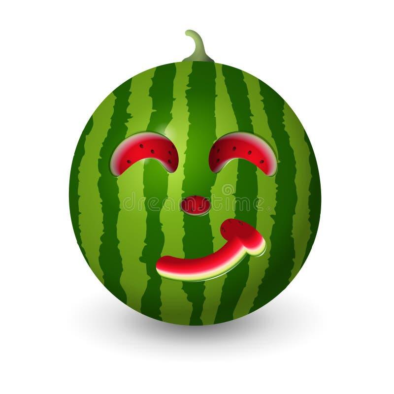 Το ρεαλιστικό καρπούζι που χαράζεται στο θερινό σύμβολο διαμορφώνει το emoji χαμόγελου - διανυσματική απεικόνιση που απομονώνεται ελεύθερη απεικόνιση δικαιώματος
