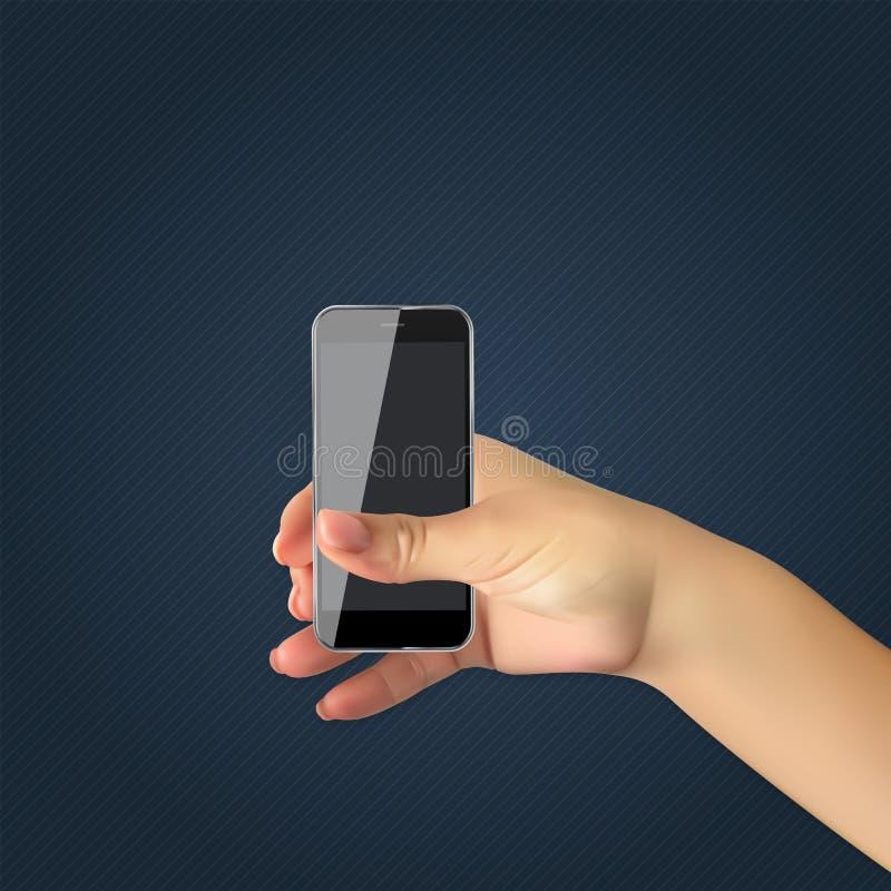 Το ρεαλιστικό χέρι του ατόμου κρατά το κινητό τηλέφωνο, smartphone επίσης corel σύρετε το διάνυσμα απεικόνισης απεικόνιση αποθεμάτων