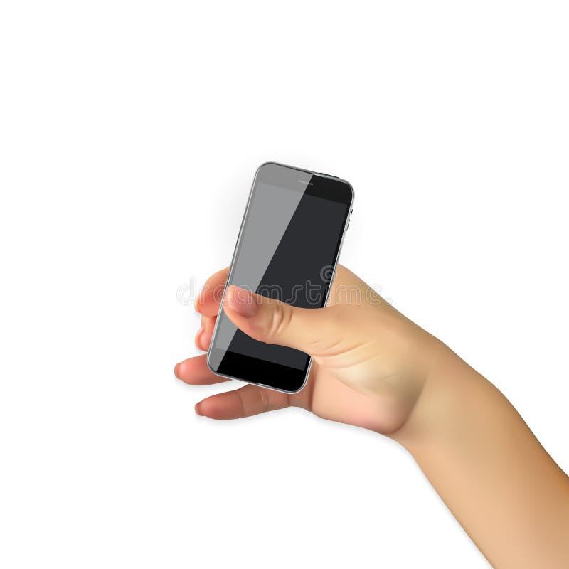 Το ρεαλιστικό χέρι του ατόμου κρατά το κινητό τηλέφωνο, smartphone που απομονώνεται στο άσπρο υπόβαθρο επίσης corel σύρετε το διά ελεύθερη απεικόνιση δικαιώματος