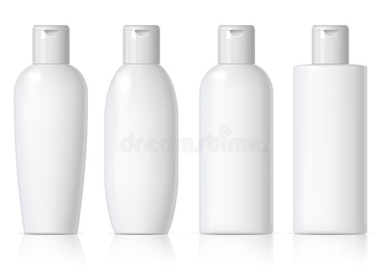 Το ρεαλιστικό καλλυντικό μπουκάλι μπορεί εμπορευματοκιβώτιο ψεκαστήρων απεικόνιση αποθεμάτων