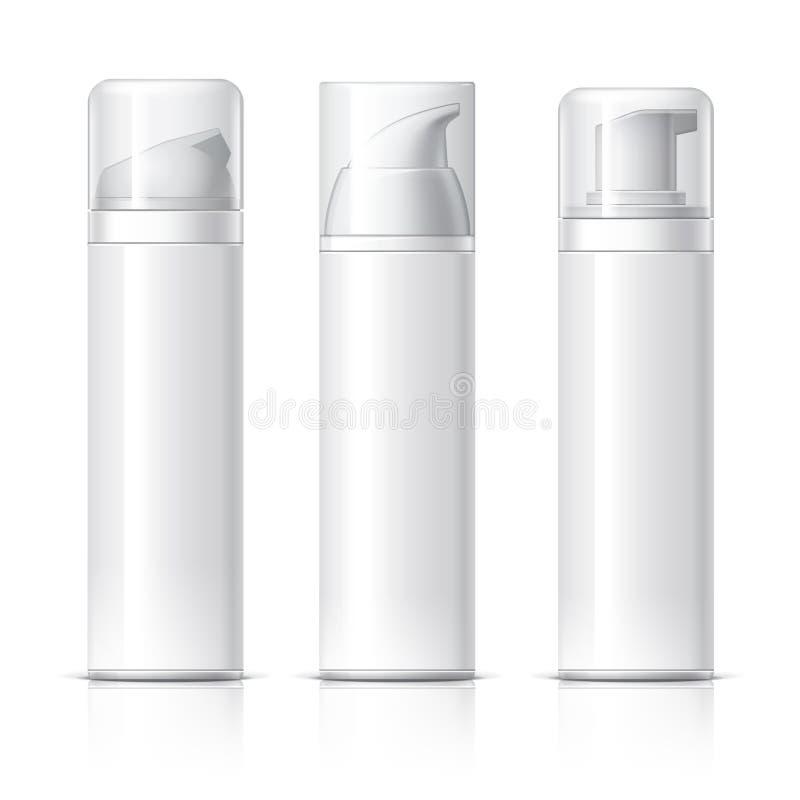 Το ρεαλιστικό καλλυντικό μπουκάλι μπορεί εμπορευματοκιβώτιο ψεκαστήρων διανυσματική απεικόνιση