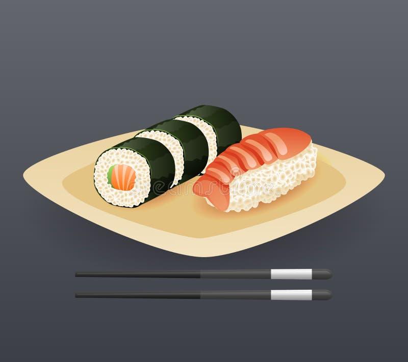 Το ρεαλιστικό πιάτο ρόλων σουσιών κολλά γρήγορου φαγητού διανυσματική απεικόνιση προτύπων συμβόλων κινούμενων σχεδίων εικονιδίων  απεικόνιση αποθεμάτων