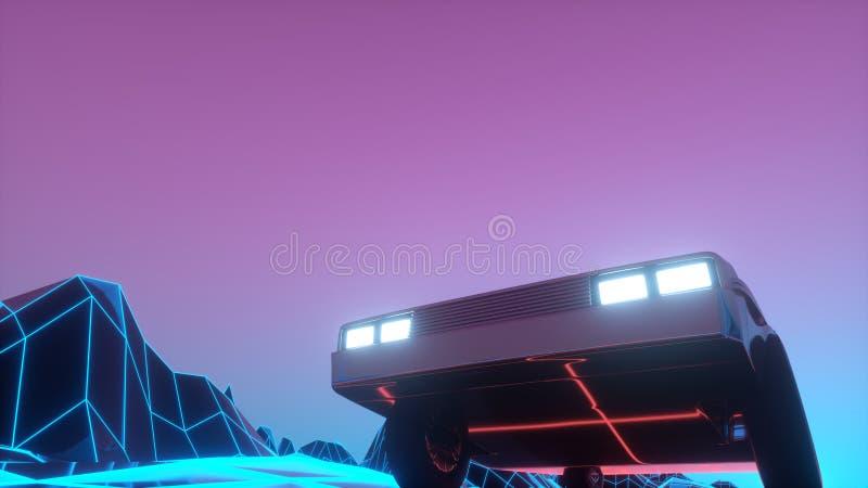 Το ρετρό φουτουριστικό αυτοκίνητο της δεκαετίας του 1980 κινείται σε ένα εικονικό νέο τοπίο απεικόνιση 3δ διανυσματική απεικόνιση