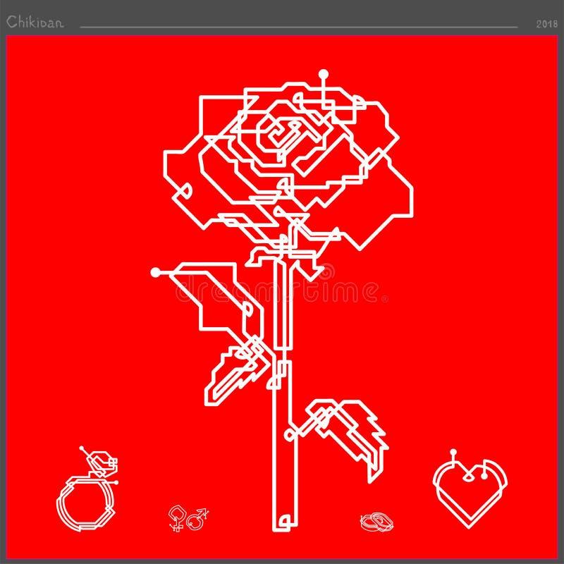 Το ροδαλό εικονίδιο λουλουδιών δημιουργείται από μια ευθεία γραμμή συνεχή ελεύθερη απεικόνιση δικαιώματος