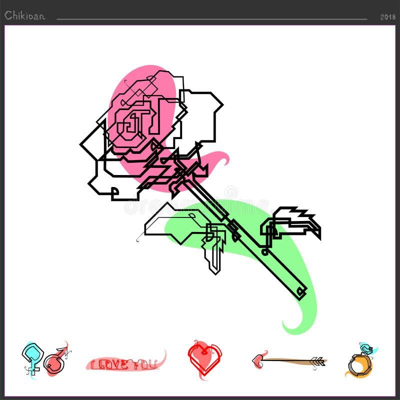 Το ροδαλό εικονίδιο λουλουδιών δημιουργείται από μια ευθεία γραμμή συνεχή απεικόνιση αποθεμάτων