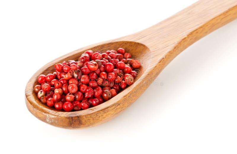 Το ροζ ή αυξήθηκε βραζιλιάνο κόκκινο peppercorns terebinthifolius schinus στο ξύλινο κο στοκ φωτογραφία με δικαίωμα ελεύθερης χρήσης