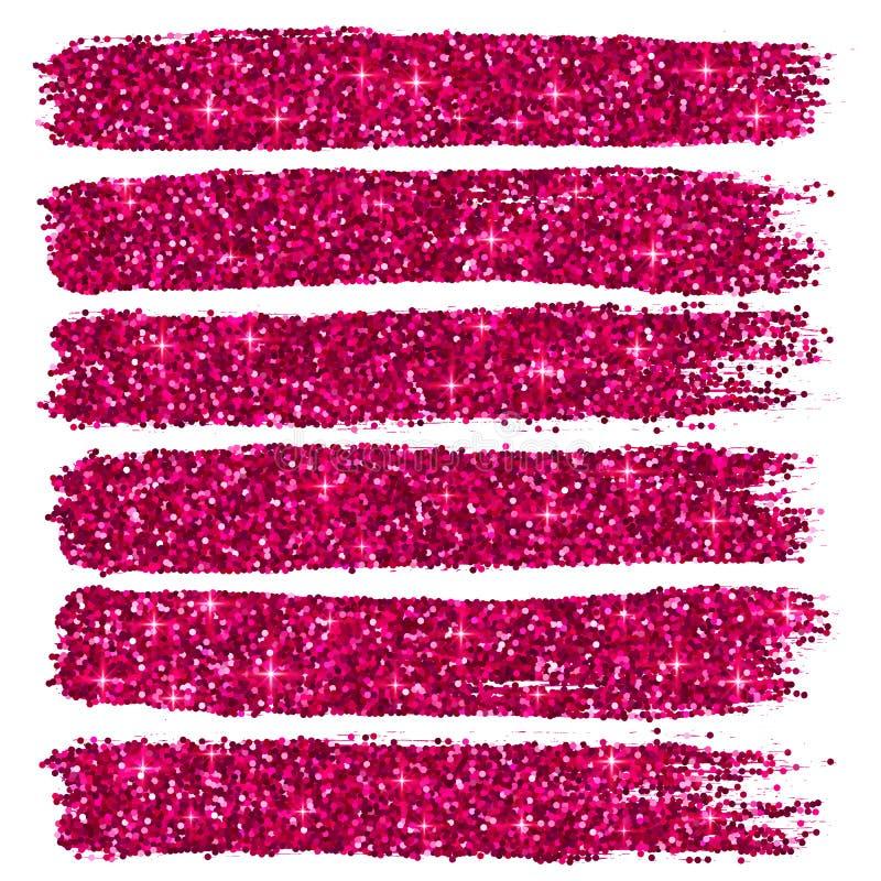 Το ροζ ακτινοβολεί brushstrokes έθεσε απομονωμένος ελεύθερη απεικόνιση δικαιώματος