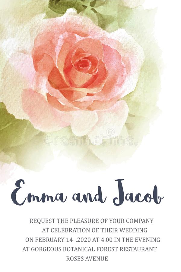 Το ροζ γαμήλιας πρόσκλησης αυξήθηκε χέρι watercolor που σύρθηκε Εκτός από το dat διανυσματική απεικόνιση