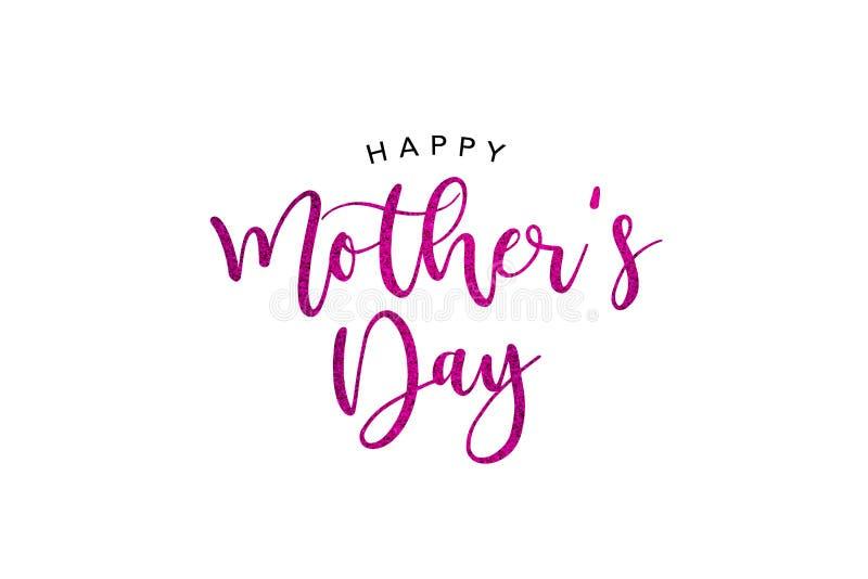 Το ροζ διακοπών ημέρας της ευτυχούς μητέρας ακτινοβολεί καλλιγραφία διανυσματική απεικόνιση