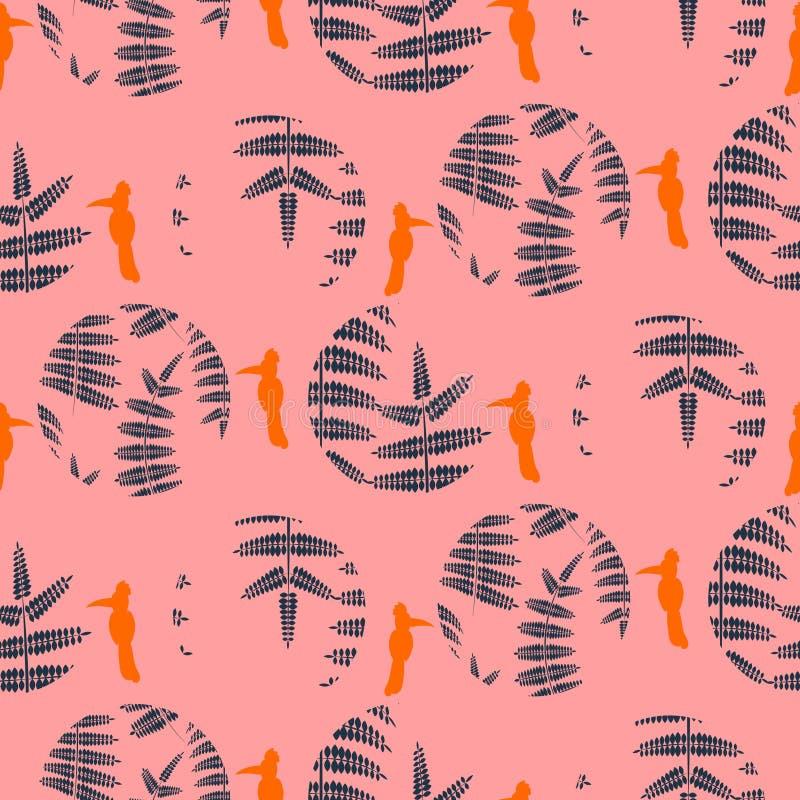 Το ροζ φτερών αφήνει τους κύκλους και τα πουλιά άνευ ραφής διανυσματικό σχέδιο ελεύθερη απεικόνιση δικαιώματος