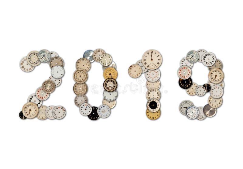 Το ρολόι αντιμετωπίζει το σημάδι του 2019 στοκ εικόνα με δικαίωμα ελεύθερης χρήσης