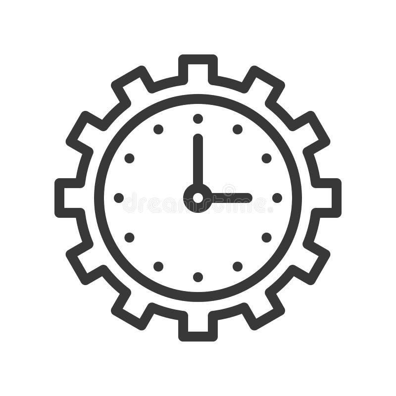 Το ρολόι και το εργαλείο, χρονική διαχείριση ή διατηρούν το εικονίδιο, εικονοκύτταρο τέλειο απεικόνιση αποθεμάτων