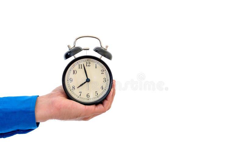 Το ρολόι του λέει υπό εξέταση το χρόνο ` s να εργαστεί στοκ φωτογραφίες με δικαίωμα ελεύθερης χρήσης