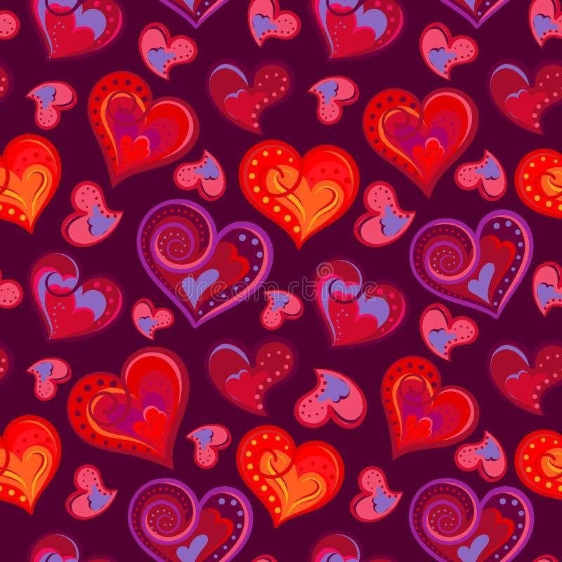 Το ρομαντικό άνευ ραφής σχέδιο με το ζωηρόχρωμο χέρι σύρει τις καρδιές Φωτεινές καρδιές στο πορφυρό υπόβαθρο επίσης corel σύρετε  ελεύθερη απεικόνιση δικαιώματος