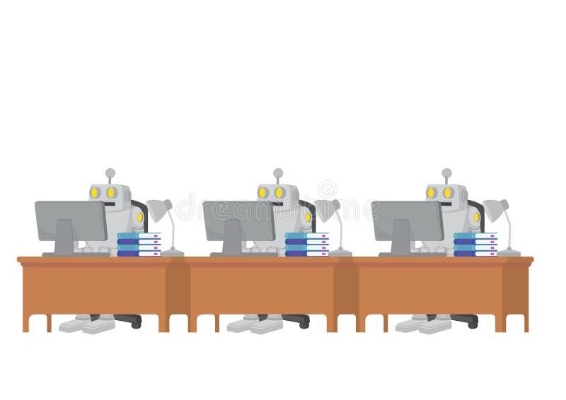 Το ρομπότ ανέλαβε εργασίες για να αυξήσει την παραγωγικότητα Απεικονίζει την αυτοματοποίηση, τη μελλοντική αγορά εργασίας και την διανυσματική απεικόνιση