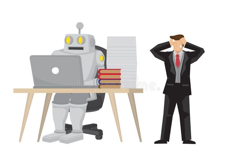 Το ρομπότ ανέλαβε τον υπάλληλο γραφείου κάνοντας τη δουλειά του Απεικονίζει την αυτοματοποίηση, τη μελλοντική αγορά εργασίας και  διανυσματική απεικόνιση