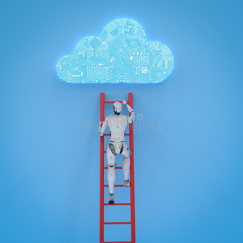 Το ρομπότ αναπτύσσει το σύννεφο στοκ εικόνα
