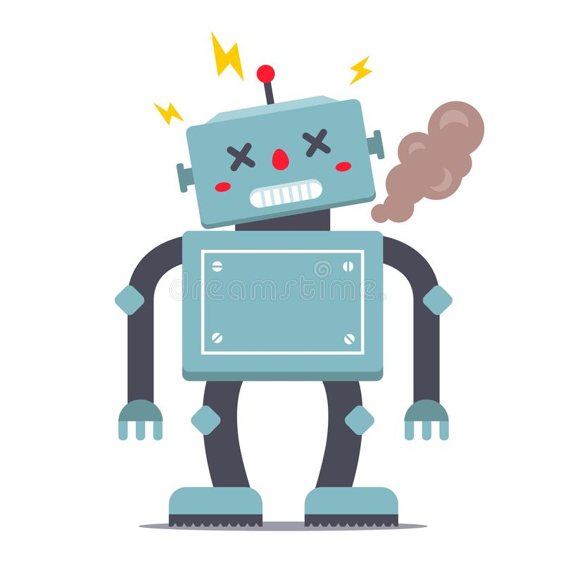 Το ρομπότ είναι σπασμένο καπνοί και σπινθηρίσματα διανυσματική απεικόνιση