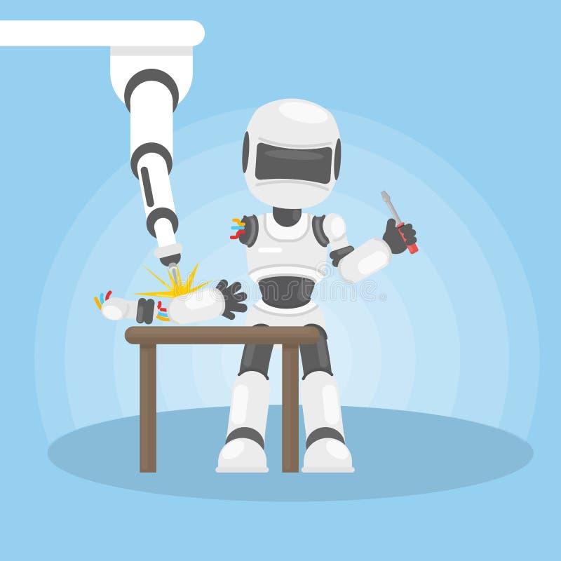 Το ρομπότ επισκευάζεται ελεύθερη απεικόνιση δικαιώματος