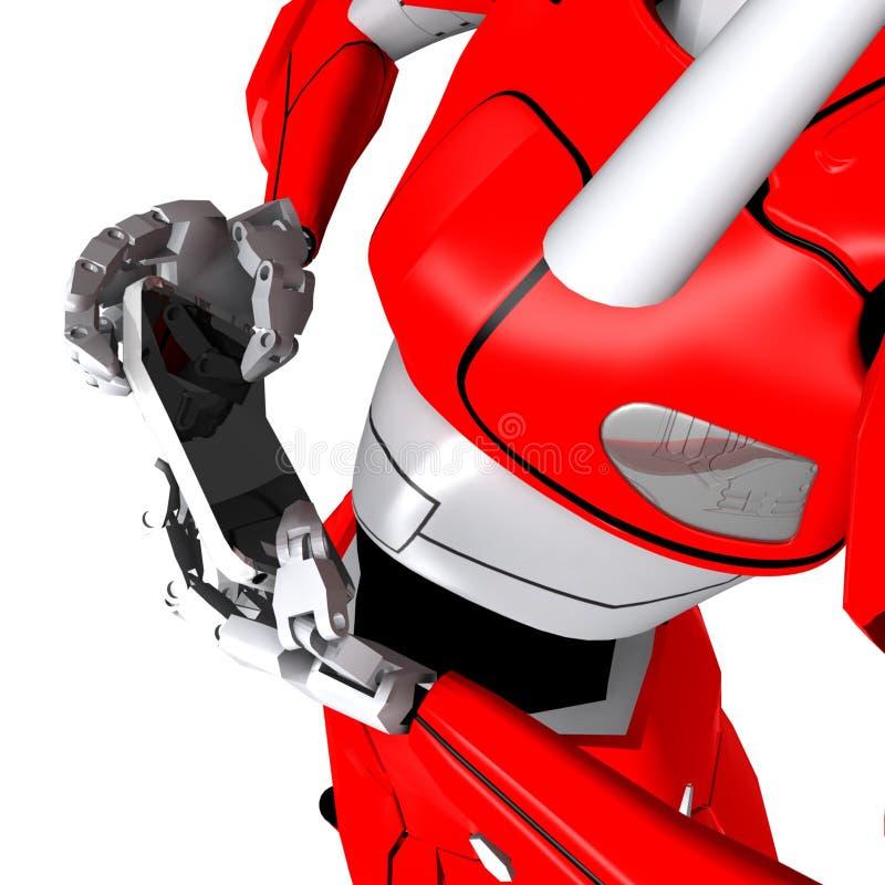 Το ρομπότ θέτει παρουσιάζει smartphone κάμψεων ελεύθερη απεικόνιση δικαιώματος