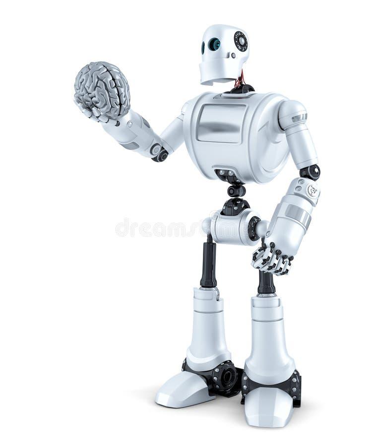 Το ρομπότ κρατά έναν ανθρώπινο εγκέφαλο στο χέρι του απομονωμένος Περιέχει το μονοπάτι ψαλιδίσματος ελεύθερη απεικόνιση δικαιώματος