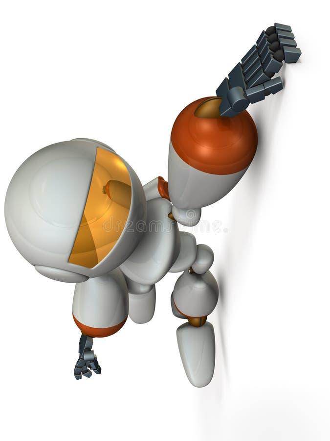 Το ρομπότ κρεμά με τα δάχτυλά του που κρεμούν στον τοίχο ελεύθερη απεικόνιση δικαιώματος