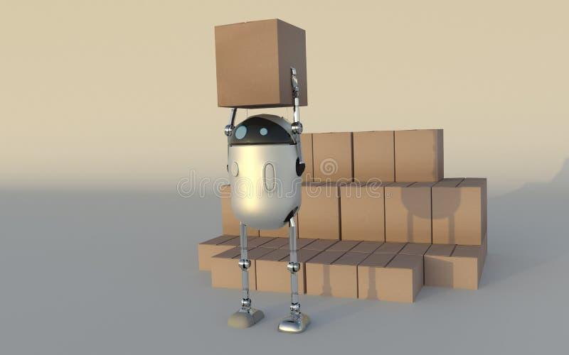 Το ρομπότ με τη ναυτιλία των κιβωτίων καθιστά τρισδιάστατος ελεύθερη απεικόνιση δικαιώματος