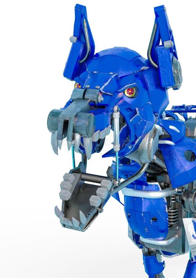 Το ρομπότ σκυλιών φρουράς είναι ένα σύστημα ασφαλείας σε ένα άσπρο υπόβαθρο απεικόνιση αποθεμάτων