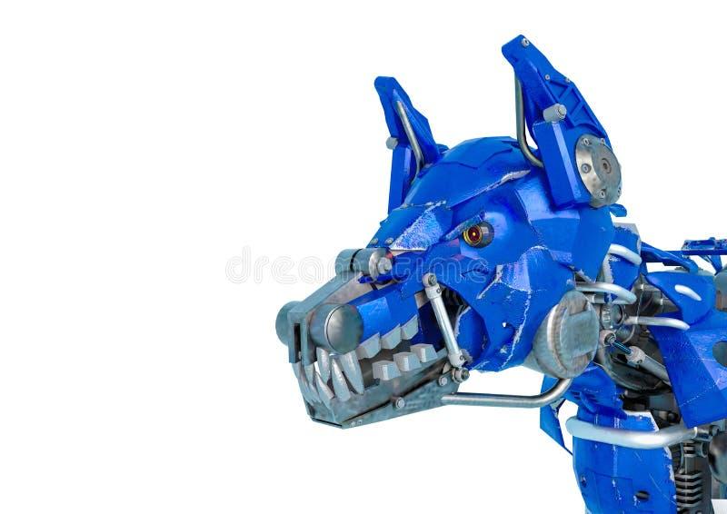 Το ρομπότ σκυλιών φρουράς είναι ένα σύστημα ασφαλείας σε ένα άσπρο υπόβαθρο ελεύθερη απεικόνιση δικαιώματος