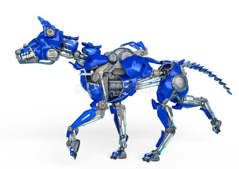 Το ρομπότ σκυλιών φρουράς είναι ένα σύστημα ασφαλείας σε ένα άσπρο υπόβαθρο διανυσματική απεικόνιση