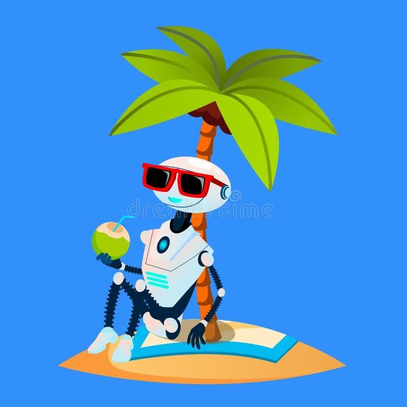 Το ρομπότ στις διακοπές κάνει ηλιοθεραπεία κάτω από το φοίνικα στο διάνυσμα παραλιών απομονωμένη ωθώντας s κουμπιών γυναίκα έναρξ διανυσματική απεικόνιση