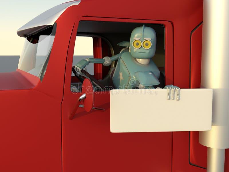 το ρομπότ στο αυτοκίνητο τρισδιάστατο δίνει διανυσματική απεικόνιση