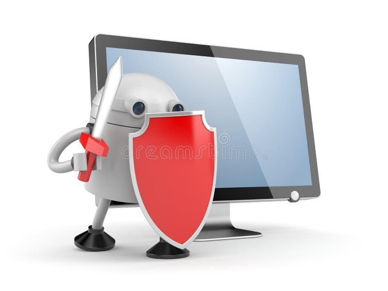 Το ρομπότ υπερασπίζει τον υπολογιστή γραφείου Ρομπότ με την κόκκινα ασπίδα και το ξίφος ελεύθερη απεικόνιση δικαιώματος