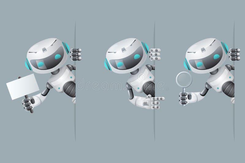 Το ρομπότ φαίνεται έξω διαθέσιμη υπόδειξη αφισών γωνιών στην ενίσχυση λαβής εμβλημάτων - μέλλον επιστημονικής φαντασίας τεχνολογί διανυσματική απεικόνιση