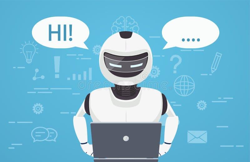 Το ρομπότ χρησιμοποιεί το φορητό προσωπικό υπολογιστή Έννοια της συνομιλίας BOT, ένας εικονικός σε απευθείας σύνδεση βοηθός διανυσματική απεικόνιση