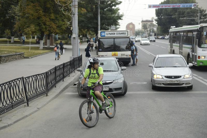 Το Ροστόφ -φορά - η μεγαλύτερη πόλη στο νότο της Ρωσικής Ομοσπονδίας, το διοικητικό κέντρο της άποψης πόλεων του Ροστόφ Oblast στοκ εικόνα με δικαίωμα ελεύθερης χρήσης