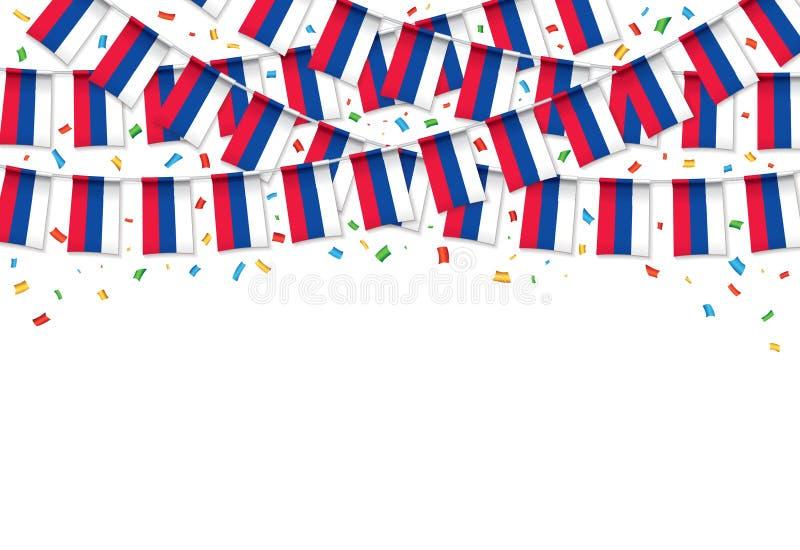 Το ρωσικό άσπρο υπόβαθρο γιρλαντών σημαιών με το κομφετί, κρεμά το ύφασμα για τον εορτασμό ημέρας της Ρωσίας διανυσματική απεικόνιση