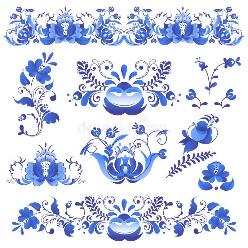 Το ρωσικό ύφος τέχνης διακοσμήσεων gzhel χρωμάτισε με το μπλε στο άσπρο διάνυσμα σχεδίων κλάδων άνθισης λουλουδιών παραδοσιακό λα διανυσματική απεικόνιση