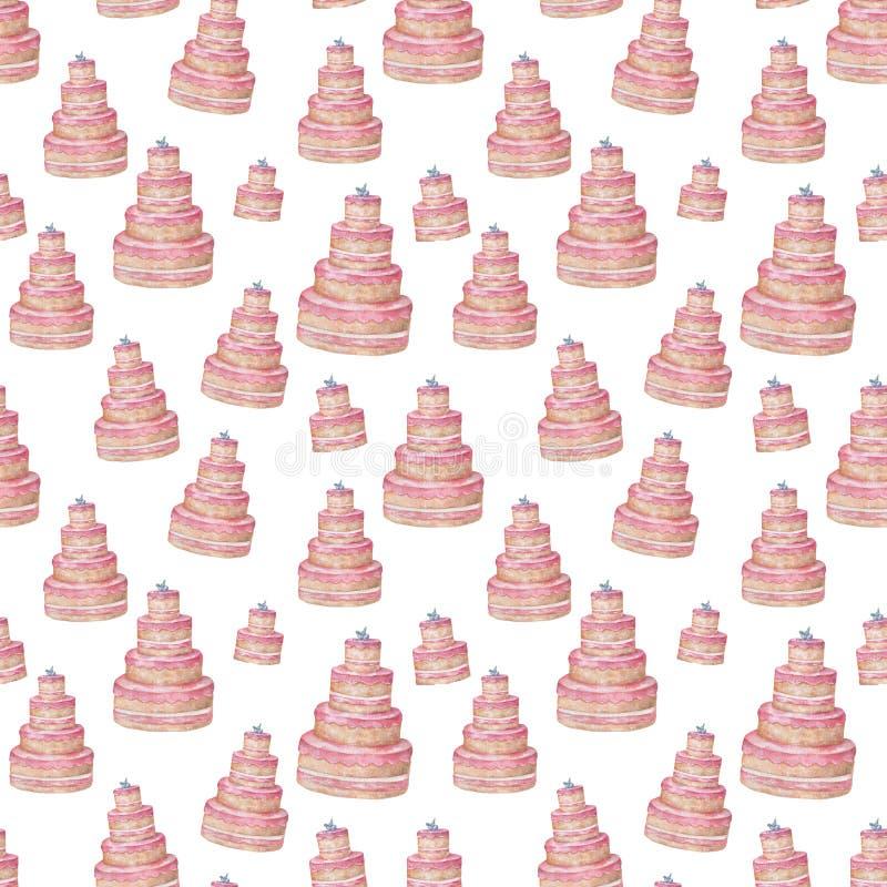 Το ρόδινο νόστιμο υπόβαθρο σχεδίων κέικ ζάχαρης των χαριτωμένων cupcakes στην τέχνη συνδετήρων watercolor χρωμάτων κρητιδογραφιών απεικόνιση αποθεμάτων