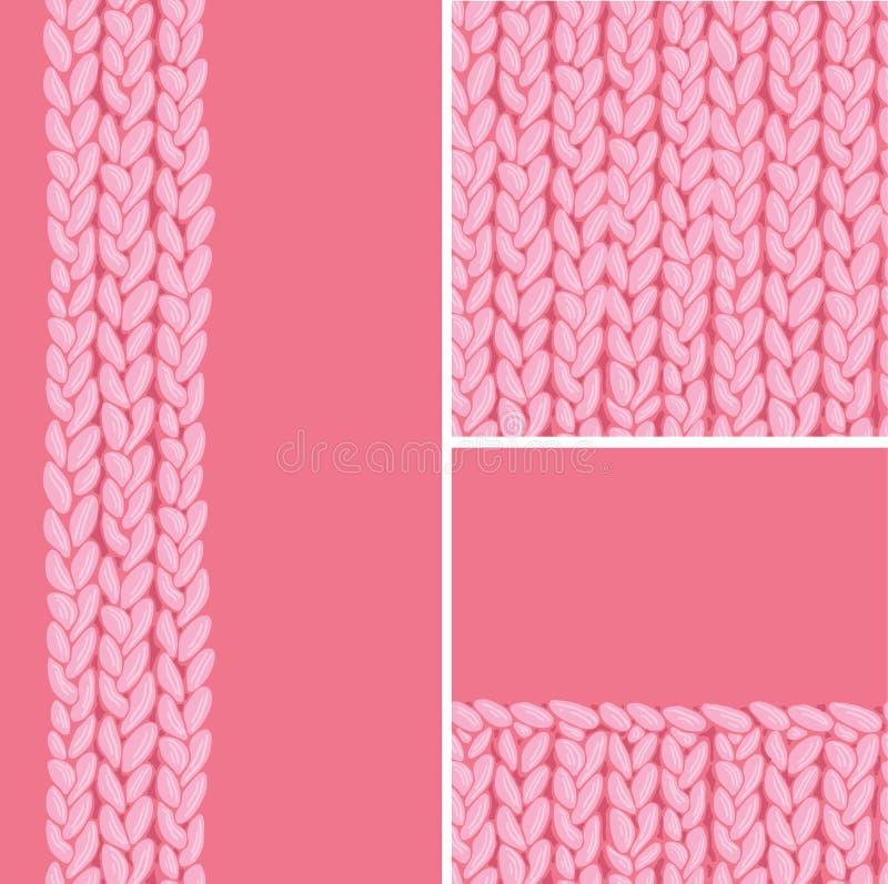 Το ρόδινο σύνολο τριών πλέκει τα υφαντικά άνευ ραφής σχέδια ελεύθερη απεικόνιση δικαιώματος