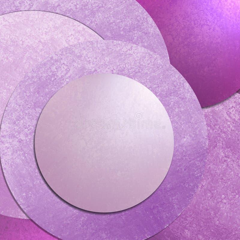 Το ρόδινο υπόβαθρο κύκλων με το σχεδιάγραμμα σχεδίου σύστασης, αφαιρεί τη μοντέρνα τέχνη υποβάθρου με το κενό κουμπί για τον ιστοχ διανυσματική απεικόνιση