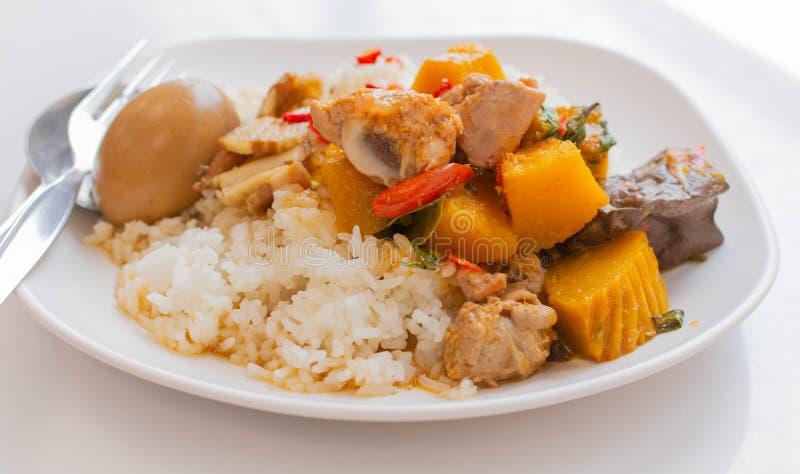 Το ρύζι και το κάρρυ, κάρρυ κοτόπουλου με τους κατόχους κολοκύθας με το αυγό μαγείρεψαν σε κατσαρόλα στο ζωμό στοκ φωτογραφίες με δικαίωμα ελεύθερης χρήσης
