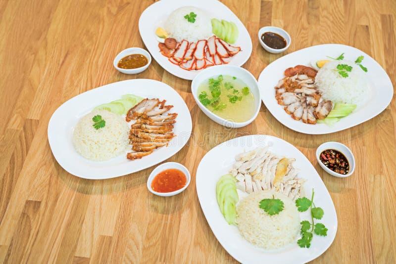 Το ρύζι με το ψημένο κόκκινο χοιρινό κρέας + τριζάτο ψημένο χοιρινό κρέας κοιλιών το ύφος στο ρύζι + το ρύζι κοτόπουλου Hainanese στοκ φωτογραφία με δικαίωμα ελεύθερης χρήσης