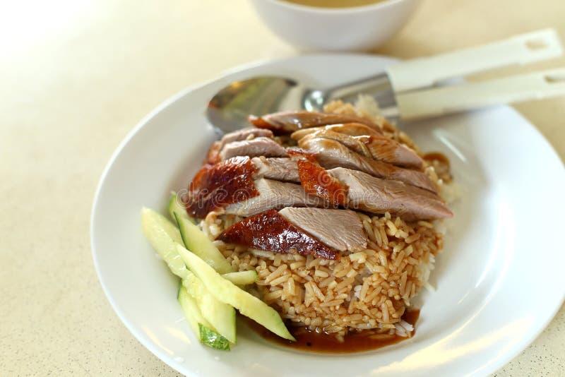 Το ρύζι παπιών στο κινεζικό ύφος με το αγγούρι στο άσπρο πιάτο στοκ φωτογραφία με δικαίωμα ελεύθερης χρήσης