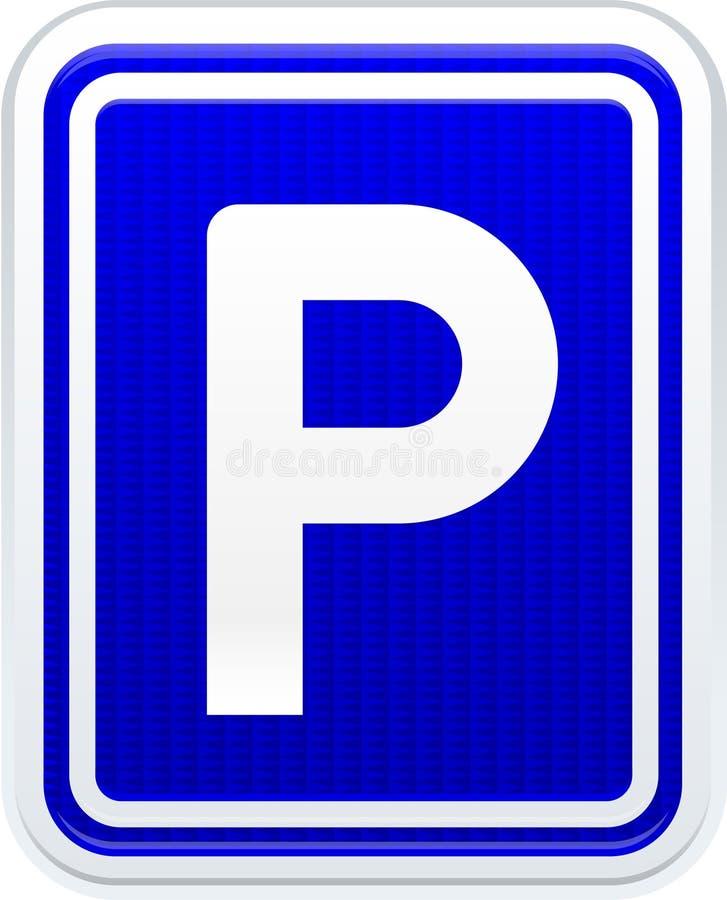 Το σήμα κυκλοφορίας χώρων στάθμευσης στο λαμπρό ύφος, με απεικονίζει διανυσματική απεικόνιση
