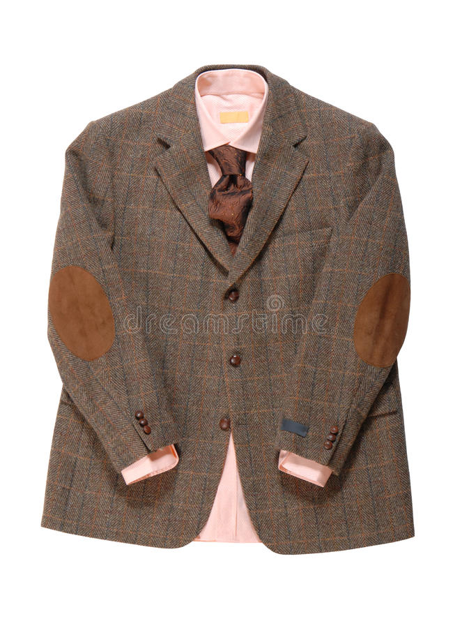 Το σακάκι, πουκάμισο, γραβάτα είναι στην άσπρη ανασκόπηση. στοκ εικόνα με δικαίωμα ελεύθερης χρήσης