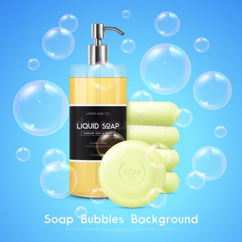 Το σαπούνι βράζει ρεαλιστική αφίσα υποβάθρου απεικόνιση αποθεμάτων