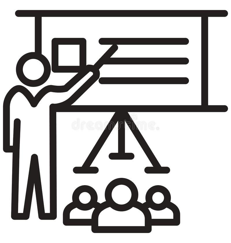 το σεμινάριο, απομονωμένο γραμμή διανυσματικό εικονίδιο κατάρτισης μπορεί να τροποποιηθεί εύκολα και να εκδώσει ελεύθερη απεικόνιση δικαιώματος