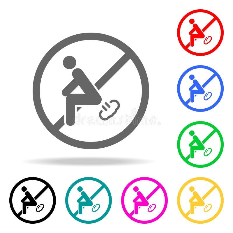Το σημάδι, δεν κλάνει εικονίδιο Στοιχεία στα πολυ χρωματισμένα εικονίδια για την κινητούς έννοια και τον Ιστό apps Εικονίδια για  διανυσματική απεικόνιση
